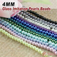1 String,about 200-220 4MM Glass Dyeing Color Round Imitation pearls Beads 7685