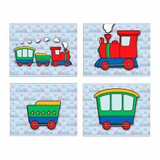 Set of 4 Boy's Bedroom Wall Art Prints Colorful TRAIN CARS Blue Linen Background