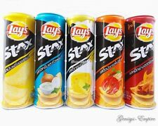 LAYS STAX POTATO CHIPS SUPER STACK SNACK BURSTING WITH FLAVOUR ONE CAN 100G.