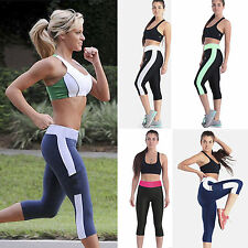 Womens High Waist Sports YOGA Capri 3/4 Pants Fitness Running Cropped Leggings
