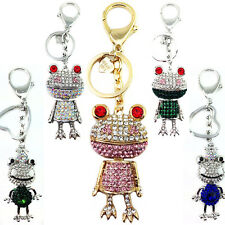 New Ladies Girls Prince Frog DIAMANTE Keyring Bag Charm KeyChain Gift Animal