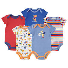 "Luvable Friends Boys 5 Pack ""Amazing Superhero"" Theme Short Sleeve Bodysuits"