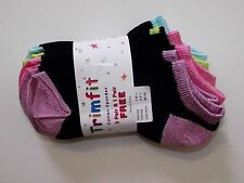 4 pack Girls 6-7 Black Pink Aqua Green Purple Low Cut Sport Socks Shoe 7.5-11.5