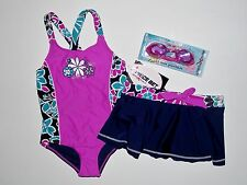 NWT Girls 4-5 ZeroXposur Purple Navy 1 Pc Swimsuit Swim Skirt Swim Set