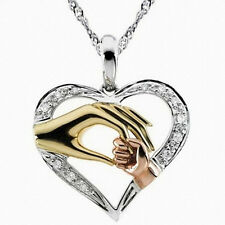 Mother's Day Mom Hold Children Kids Hand Love Heart Pendant Charm Chain Necklace