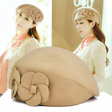 5X( Women Wool Autumn Winter 2 Flowers Beret Hat Felt Hat (Beige)) SP