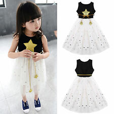 Kids Girls Star Sequins Sleeveless Princess Party Tulle Dress Bubble Skirt 3-11Y