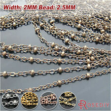 5 meters 2MM flat Oval Chain Station Beads Chains Necklace Findings 23385