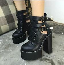 Punk Rock Womens High Chunky Heels Platforms Lace Up Buckle Ankle Boots Shoes