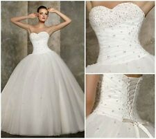 Stock NEW White Sweetheart Bridal Ball Gown Wedding Dress Size6 8 10 12 14 16 18