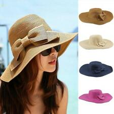 Woemn New Bohemian Bowknot Summer Sun Floppy Hat Straw Beach Wide Large Brim Cap