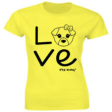 Mi Dog Womens Cute Dog With Bow With The Word Love Fitted T Shirt,