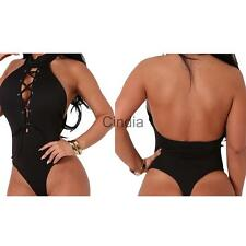 Womens Sexy Halter Backless Bodycon Bodysuit Short Jumpsuit Black One-piece Tops