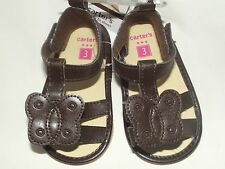 NWT Carter's Infant Girls 3 6 M Months 2 Brown Butterfly Crib Sandals Shoes