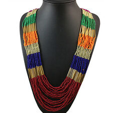 New Fashion Multilayer Beads Necklace Long Jewelry Statement Necklace SP