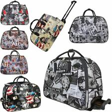 LADIES NEW MARILYN MAGAZINE PRINT WHEELED SUITCASE LUGGAGE TRAVEL BAG HOLDALL