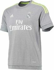 REAL MADRID AWAY (2XL,XL) 2015/16 SPAIN ADIDAS GRAY SOCCER FOOTBALL SHIRT JERSEY