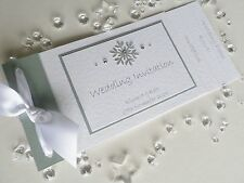 Personalised Christmas / Winter Silver Snowflake Cheque Book Wedding Invitations