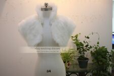 White Short Faux Fur Jacket Bolero Coat Ivory Bridal Wedding Shawl Shrug Wrap