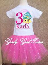 Pink Girls Cupcake Queen Birthday Glitter Tutu Outfit Party Dress Set