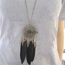 Fashion Feather Leaf Tassel Bronze Plated Pendant Long Chain Necklace Jewelry