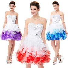Short Organza Beaded Ball Gown Evening Bridesmaid Homecoming Prom Party Dress
