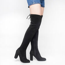SheSole Womens Over The Knee High Boots Lace Up Block Heel Long Thigh Black Boot