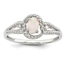 Sterling Silver October Birthstone Ring Created Opal .02 CT Diamond Size 5 to 10