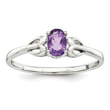 Sterling Silver Oval Amethyst February Birthstone Ring 1.33 gr Size 5 to 10