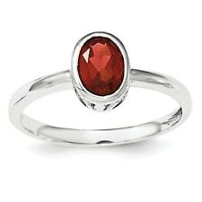 Sterling Silver Polished Oval Cut Garnet Ring 1.30 gr Size 6 to 8