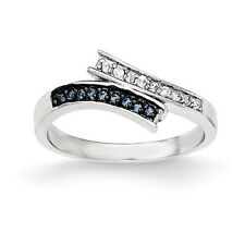 Sterling Silver Blue Glass & Clear CZ Wrap Style Ring 2.05 gr Size 6 to 8