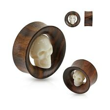 Pair Of Carved Skull Inside Organic Sono Wood Saddle Fit Tunnels