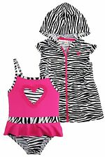 Wippette Baby Girls Zebra Heart One Piece Swimsuit Beach Terry Cover Up Set