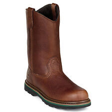 John Deere Mens Brown Leather 11in Pull-On Steel Toe Work Boots