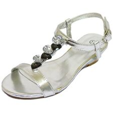 KIDS GIRLS CHILDRENS SILVER T-BAR WEDGE SANDALS PARTY SHOES PUMPS 10-5 (SECONDS)