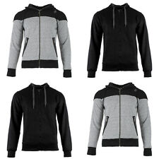 Mens Boys Grey Black Cotton Fleece Full Zip Hoodie Jacket Top Hoody Size S-XXL