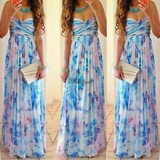 Women Boho Chiffon Sexy Strapless Maxi Floral Cocktail Party Long Dress WT88