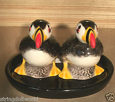 PUFFIN Novelty Salt & Pepper with Tray Dish Set Shaker Pots Cruet Boxed Painted