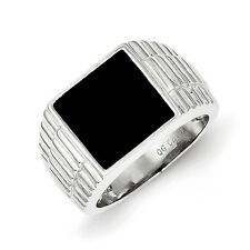 Sterling Silver Men's Square Onyx Ring 10.85 gr Size 9 to 11