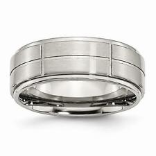 NEW Chisel Ring Stainless Steel Grooved 8mm Brushed Polished Ridged Edge Band
