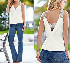 Top Sleeveless Blouse Women Vest Tank Tops Casual Summer T-Shirt Blouse Fashion