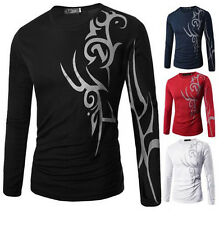 Slim Fit Long Sleeve Print Top T-Shirt Casual Mens Tattoo Fashion Round Neck