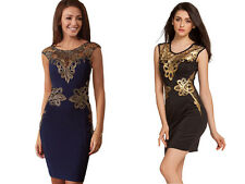 Sexy New! Gorgeous Black or Blue Dress w Gold Embroidered Foiled Applique 22427