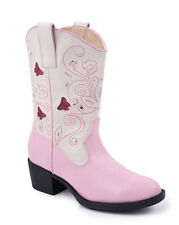 Roper Kids Girls Western Lighted Pink Faux Leather Creme Butterfly Cowboy Boots