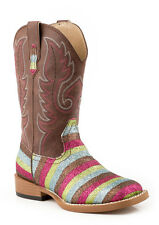 Roper Kids Girls Cowboy Boots Brown Square Toe Faux Leather Glitter Stripe
