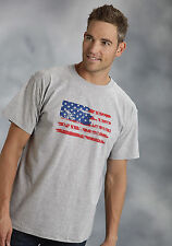 Roper Mens Graphic Tee T-Shirt Grey 100% Cotton S/S Paint Stroke USA Flag
