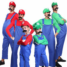 Men Boys Super Mario Luigi Bros Workmen Plumber Uniform Carnival Fancy Dress Set