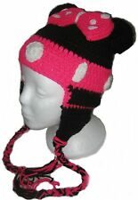 Minnie Mouse Crochet Handmade Hat with Earflaps.All Sizes.New.Made to Order.