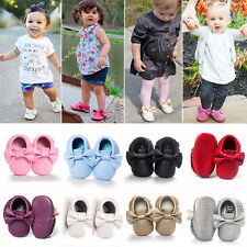Baby Boys Girls Kid Bowknot Tassel Shoes PU Leather Moccasin Soft Sole Prewalker