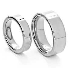 White Tungsten His and Hers Wedding Ring Sets Flat Top High Polish 5&8mm
